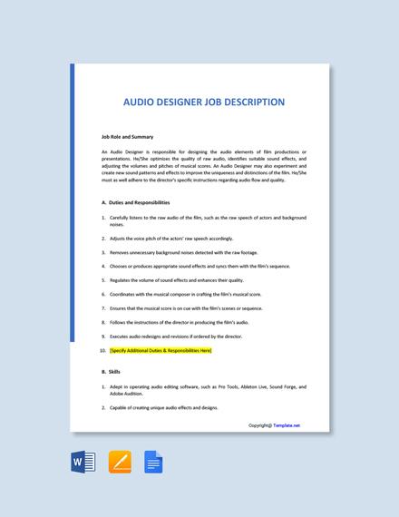 Free Audio Designer Job Description Template