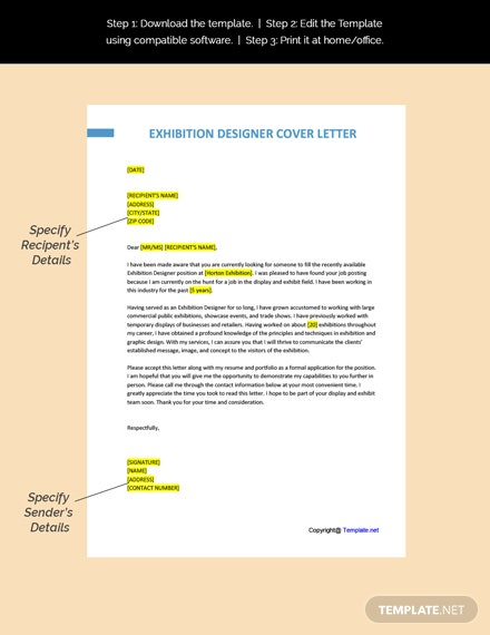 Exhibition Designer Cover Letter Template