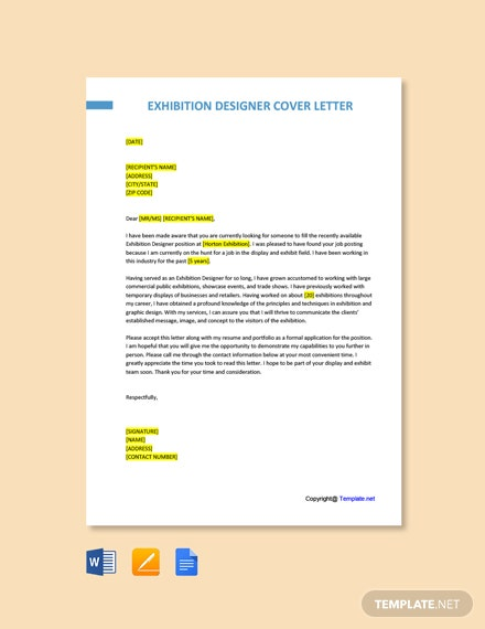 Free Exhibition Designer Cover Letter Template