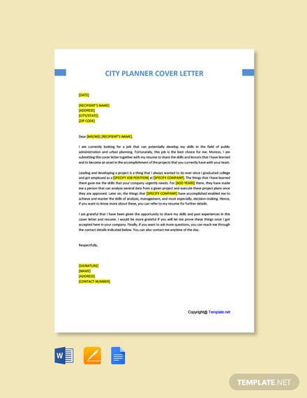 Free City Planner Cover Letter Template