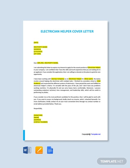 Free Electrician Helper Cover letter Template