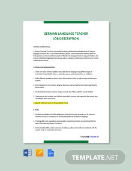 Free German Language Teacher Job Description Template