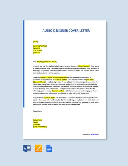 Free Audio Designer Cover Letter Template