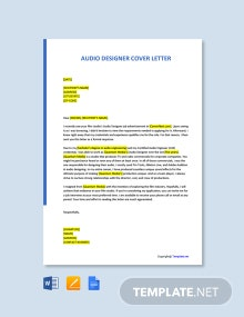 Free Audio Designer Cover Letter Template