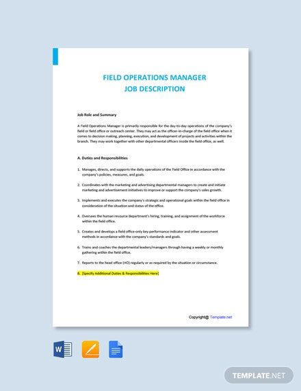 Free Field Operations Manager Job Description Template
