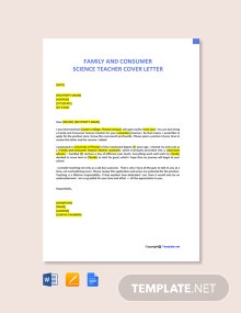 Free Family And Consumer Science Teacher Cover Letter Template