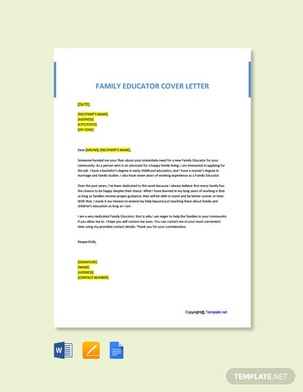 Free Family Educator Cover Letter Template