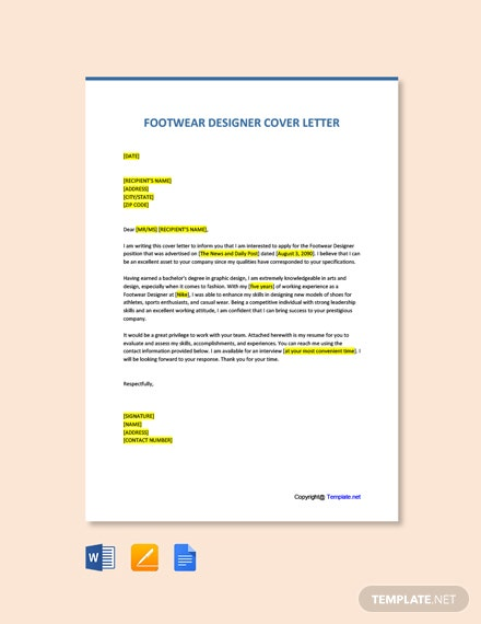 Free Footwear Designer Cover Letter Template
