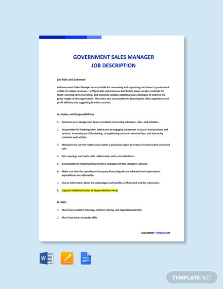 Free Government Sales Manager Job Description Template