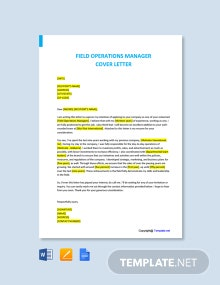 -Free Field Operations Manager Cover Letter Template