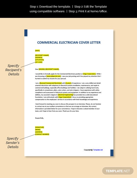 Commercial Electrician Cover Letter Template