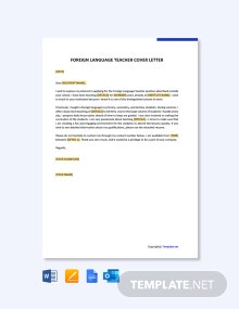 Free Foreign Language Teacher Cover Letter Template