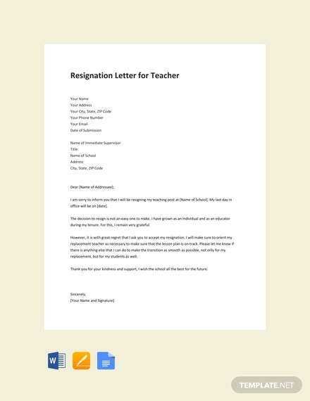 Free Resignation Letter Template for Teacher