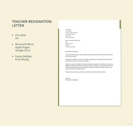 Free Resignation Letter Template for Teacher