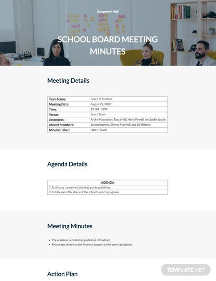 Free School Board Meeting Minutes Template