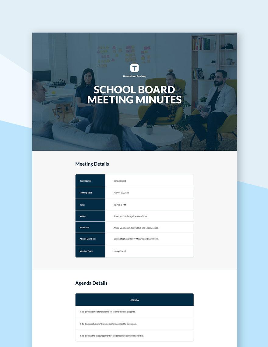 Free School Board Meeting Minutes Template
