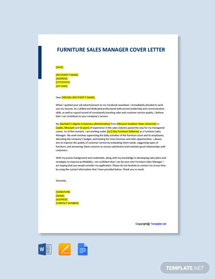 Free Furniture Sales Manager Cover Letter Template