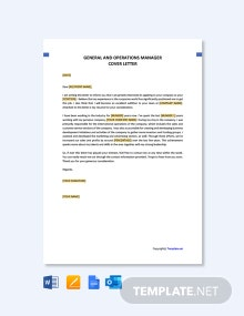 Free General and Operations Manager Cover Letter Template