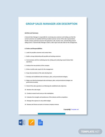 Free Group Sales Manager Job Description Template