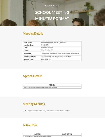 Free School Meeting Minutes Format