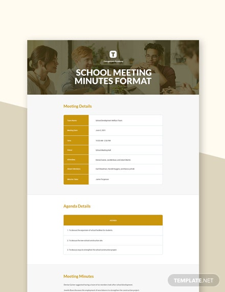 Free School Meeting Minutes Format