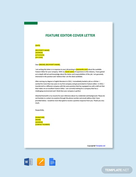 Free Feature Editor Cover Letter Template