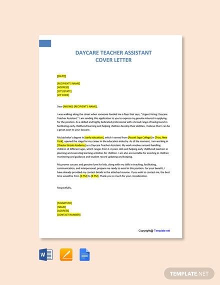 Free Daycare Teacher Assistant Cover Letter Template