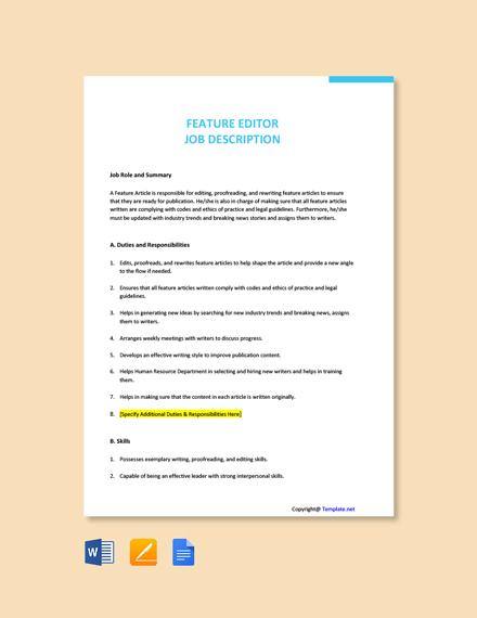 Free Feature Editor Job Description Template