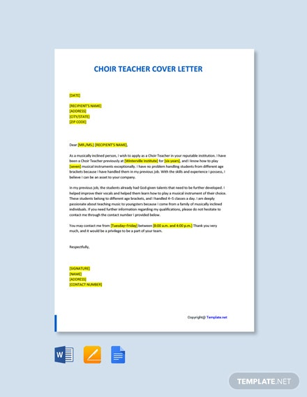 Free Choir Teacher Cover Letter Template