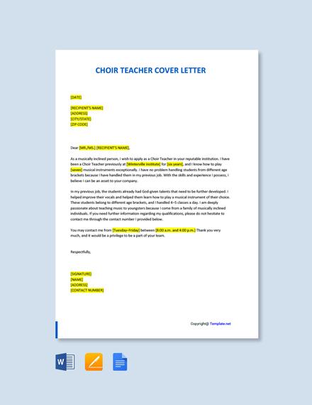 Free Choir Teacher Cover Letter Template