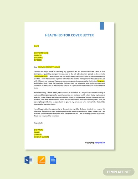 Free Health Editor Cover Letter Template