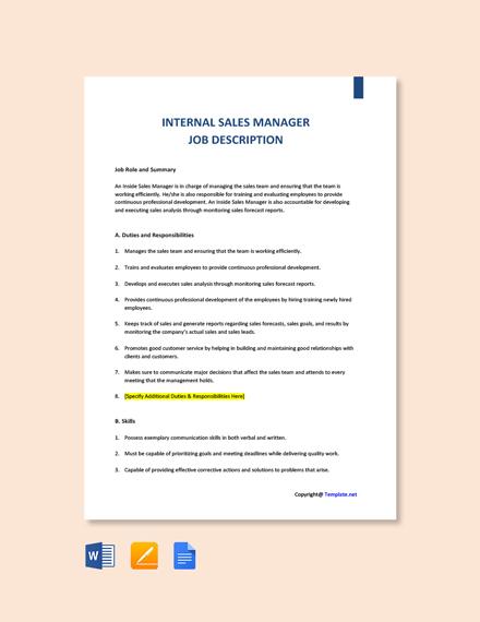 Free Internal Sales Manager Job Description Template