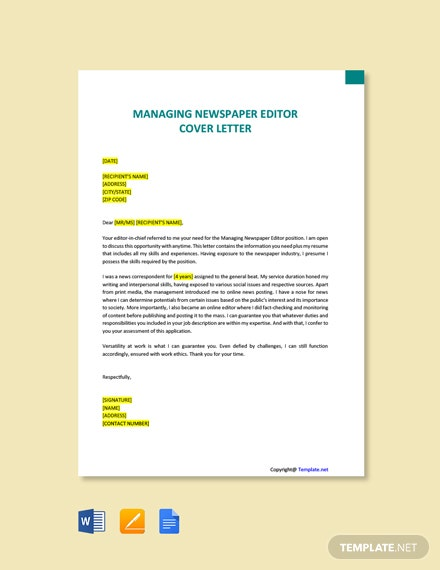 Free Managing Newspaper Editor Cover Letter Template