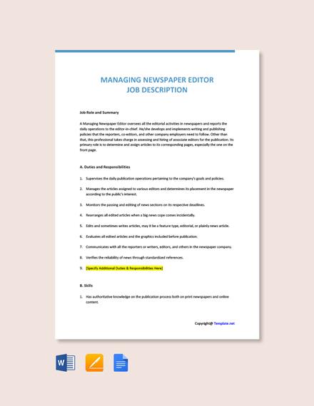 Free Managing Newspaper Editor Job Description Template