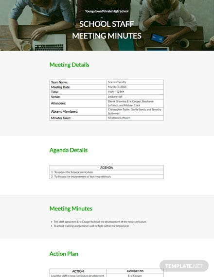 School Staff Meeting Minutes Template