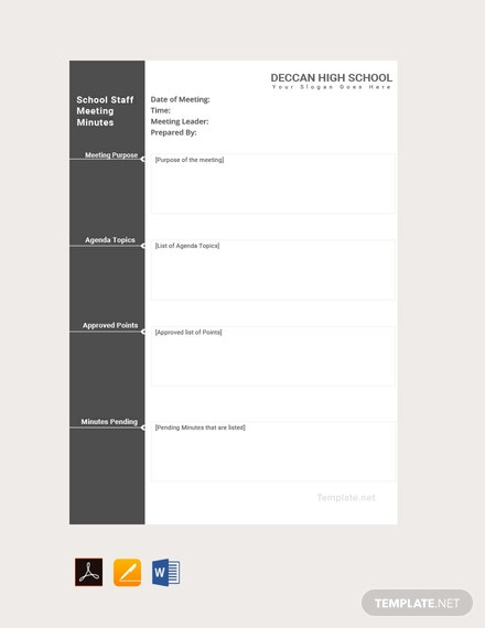 Meeting Minutes Templates | Free Primary School Staff Meeting Minutes Template Download 65