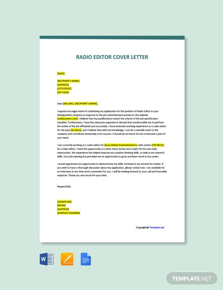 Free Radio Editor Cover Letter Template