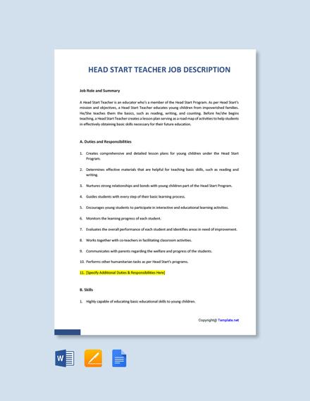 Free Head Start Teacher Job Description Template