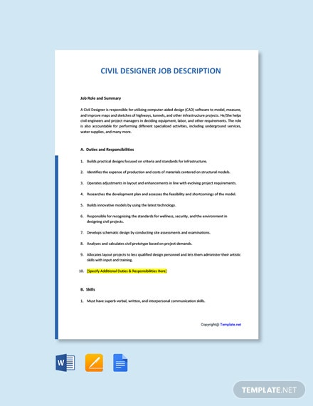 Free Civil Designer Job Description Template