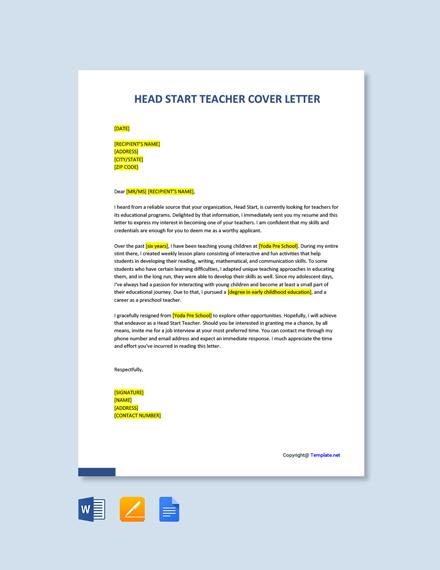 Free Head Start Teacher Cover Letter Template
