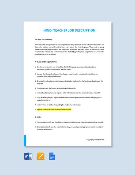 Free Hindi Teacher Job Description Template
