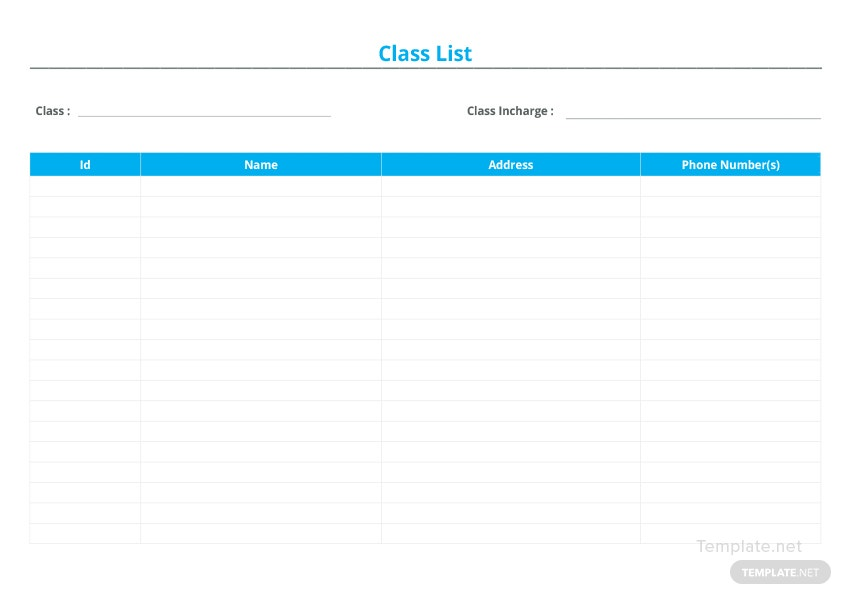 Blank Class List Template in Microsoft Word, Excel | Template.net