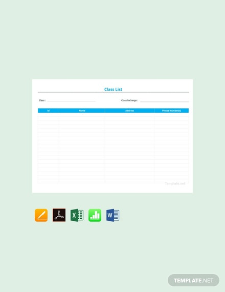 Free Blank Class List Template