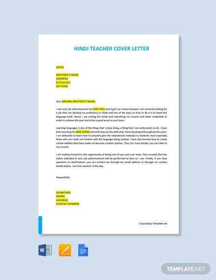 Free Hindi Teacher Cover Letter Template