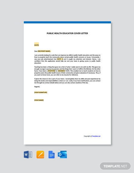 Free Public Health Educator Cover Letter Template