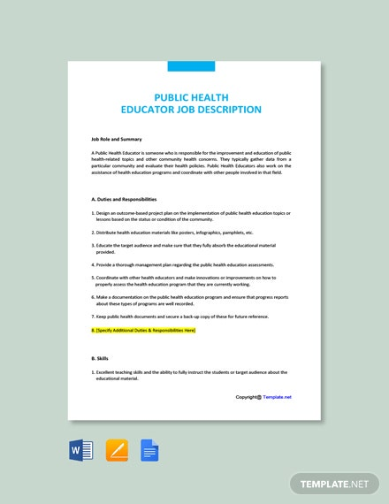 Free Public Health Educator Job Description Template
