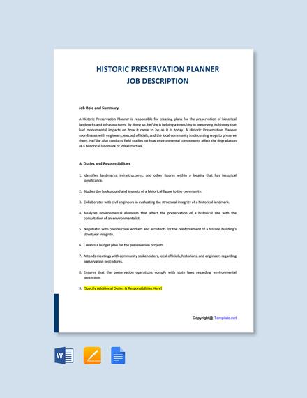 Free Historic Preservation Planner Job Description Template