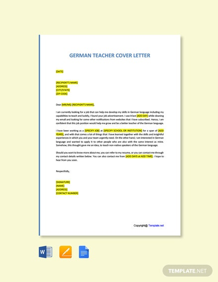 Free German Teacher Cover Letter Template