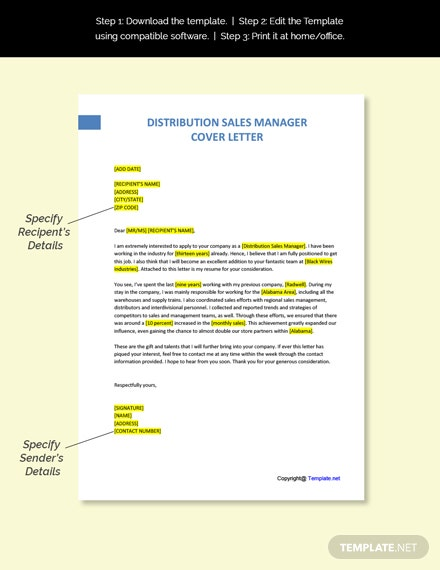 Distribution Sales Manager Cover Letter Template