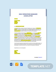 Free Golf Operations Manager Cover Letter Template